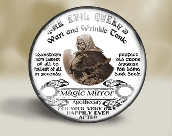 Fantasy Potion Magnet, 2.25 Inch, Pocket Mirror, Pin or Christmas Ornament, Evil Queen's Wrinkle Tonic, Magic Mirror
