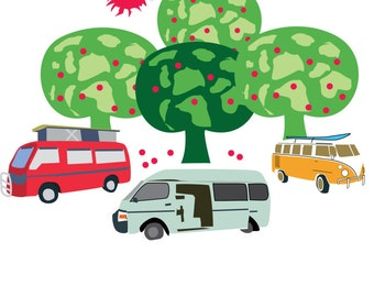 Campervans Original Digital Art Print A3 by Nice Visuals  Camper Vans under Apple Trees
