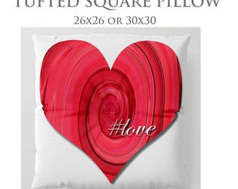 Heart Pillow-STUFFED Pillow-Floor Pillow-#Love Floor Pillow-Teen Decor-Round Floor Pillow-Red Heart Pillow-Floor Cushion-Tufted Floor Pillow