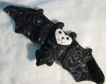 Black Snow Swirl Bat Cup Sleeve, Coffee Cozy, Stuffed Animal