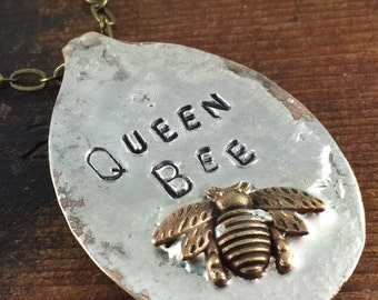 Queen Bee Spoon Necklace, Soldered Jewelry, Bee Jewelry, One of a Kind Necklace by Kyleemae Designs