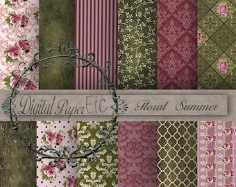 Sale Digital Background Paper, Scrapbooking Paper, Digital Sheets, Floral Digital Papers, Digital Instant Download  P 15LB