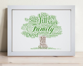 Personalised Seasons Family Tree Framed Word Art Picture Print Spring Summer Autumn Winter Gift
