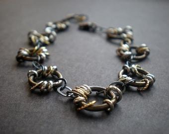Edgy Boho Jewelry, Rustic Jewelry, Mixed Metal Bracelet, Unisex Chunky Bracelet, Ring Circle Bracelet, Organic Bracelet, Grad Gift Teen Girl