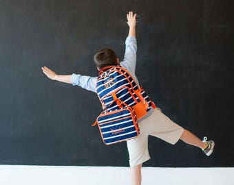 Backpack & Lunch Bag Combo Set - Line Up - Includes Embroidery Personalization - Striped Backpack Combo - Back to School