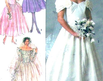 80s Wedding Dress off the shoulder gown vintage Sewing Pattern Simplicity 8413 12 Uncut