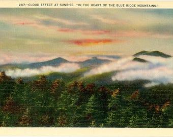 Blue Ridge Mountains at Sunrise Vintage Postcard (unused)