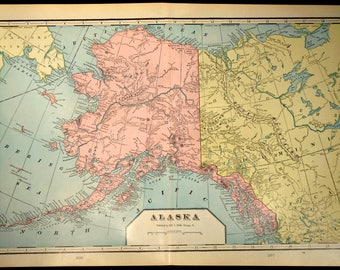 Vintage gold world map etsy alaska map alaska large antique yukon gold regions wall decor gumiabroncs Images