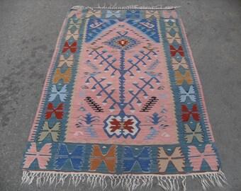"66"" X 42"" ,Pale color, Small size kilim rug, Vintage Turkish rug, pastel kilim rug, kelim, vintage rug, bohemian rug, bedroom rug, small rug"