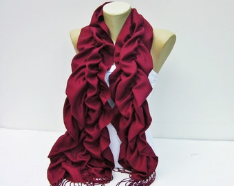 Scarf,Ruffle scarf  ,Pashmina fabric scarf in Bordeux ,CHOOSE A COLOR