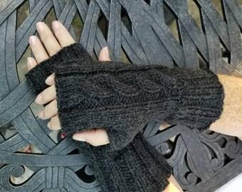 Dark Grey Cable Knit Fingerless Gloves - Black Handmade Fingerless Gloves - Wristwarmers - Arm Warmers - Women's Accessories -
