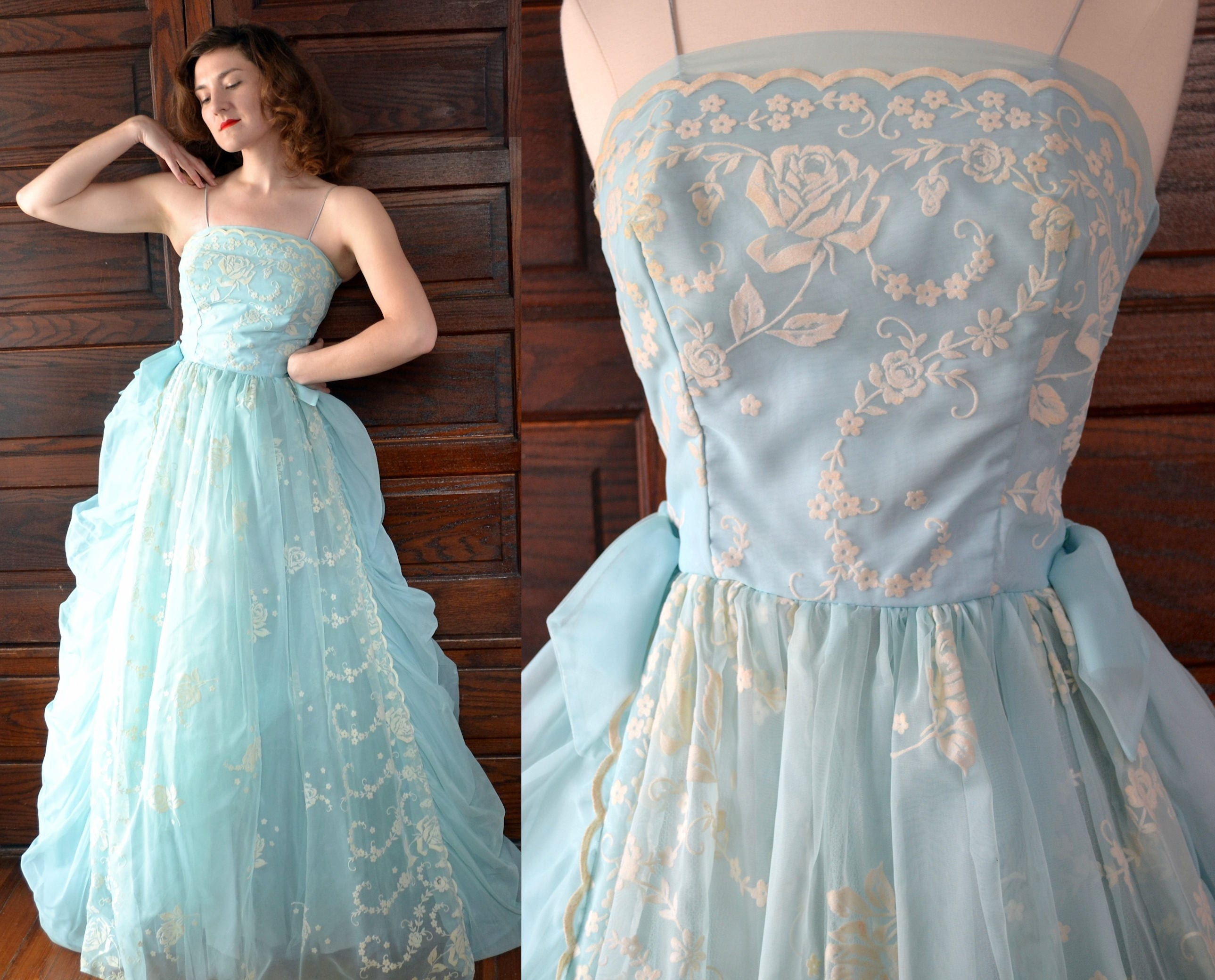 Cotton Candy Dress | vintage 60\'s light blue rose ball gown prom ...