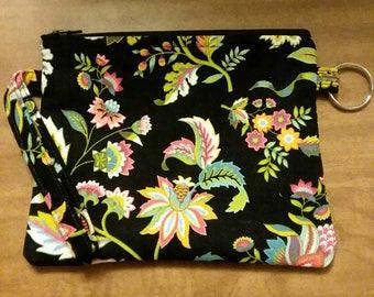 Black Floral Wristlet Wallet
