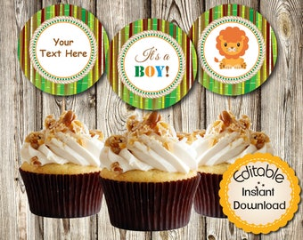 """Editable Baby Shower, Safari Jungle Animals, Boy, Cupcake Toppers, Tags, Labels, DIY, Printable, PDF, Instant Download,Round 2.5"""""""