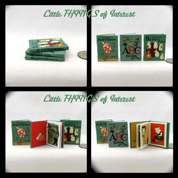 1:6 Scale DENSLOW'S CHILDREN'S BOOK Set of 3 Books Readable Illustrated Books Humpty Dumpty, Abc, 5 Little Pigs