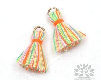 T002-CO-NR// Multi Neon Rainbow Cotton Tassel Pendant, 4pcs, 23mm