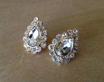 Beautiful Rhinestone Laden Pierced Earrings