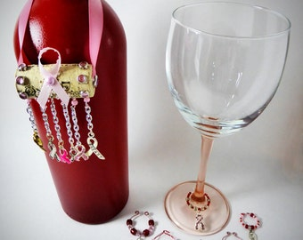 BREAST CANCER AWARENESS Themed Wine Glass Charms & Cork Bottle Ornament