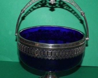 Vintage WMF Silver Plate Fruit Dish With Blue Glass Liner