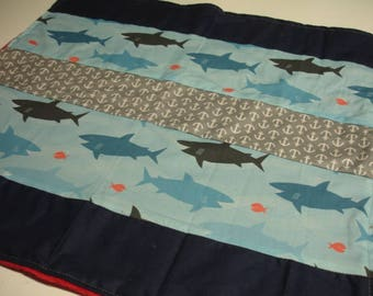 Sharks Minky Baby Receiving Blanket 8 x 20 READY TO SHIP
