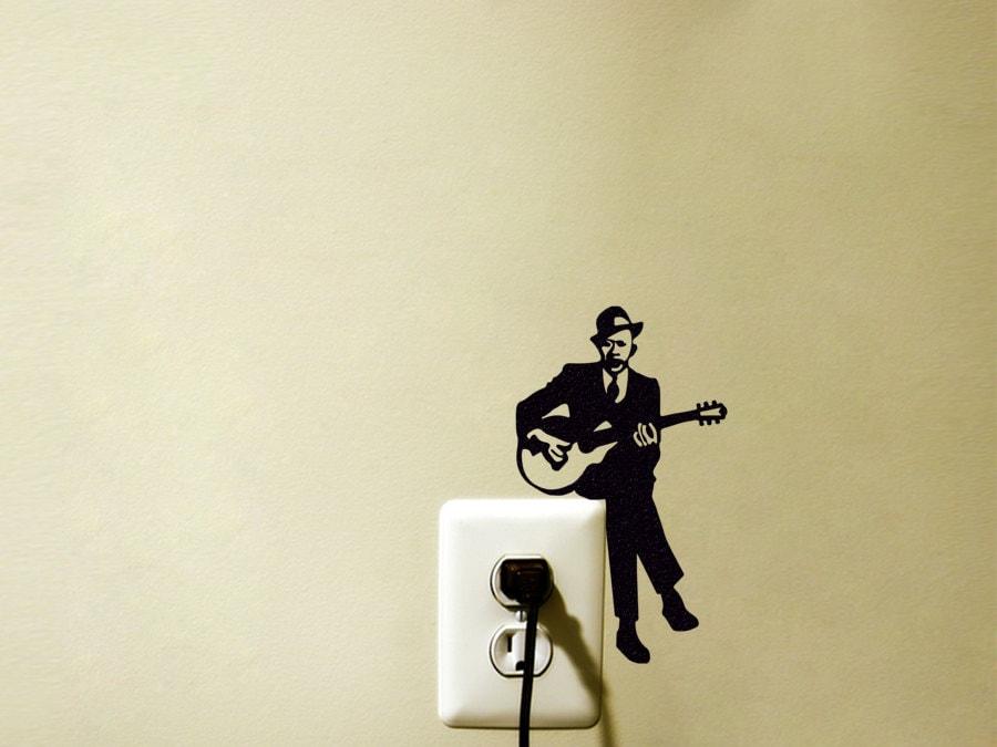 Guitar Player Light Switch Velvet Sticker Jazz Guitarist