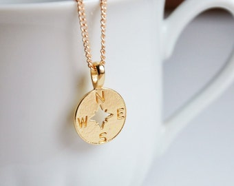Compass necklace, Gold compass, Travel gift, Compass pendant, Wanderlust necklace, Enjoy the journey, Geography gift, Inspirational necklace