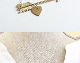 Arrow Necklace - Gold Arrow Necklace - Initials - Mothers Necklace - Arrow Jewelry - Personalized Gift - Hand stamped Necklace - Initials