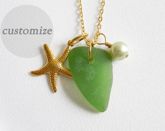 CUSTOM Green Seaglass Necklace, Gold Starfish Charm, Glass Pearl, Authentic Beach Glass Jewelry, Genuine Sea Glass Necklace