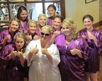 Satin Bridesmaid Robe, Bridesmaid gift, Bridal party gift, satin kimono robe, bridesmaid gift, maid of honor gift,