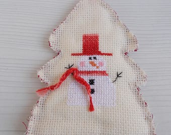Christmas cross stitch embroidered snowman.