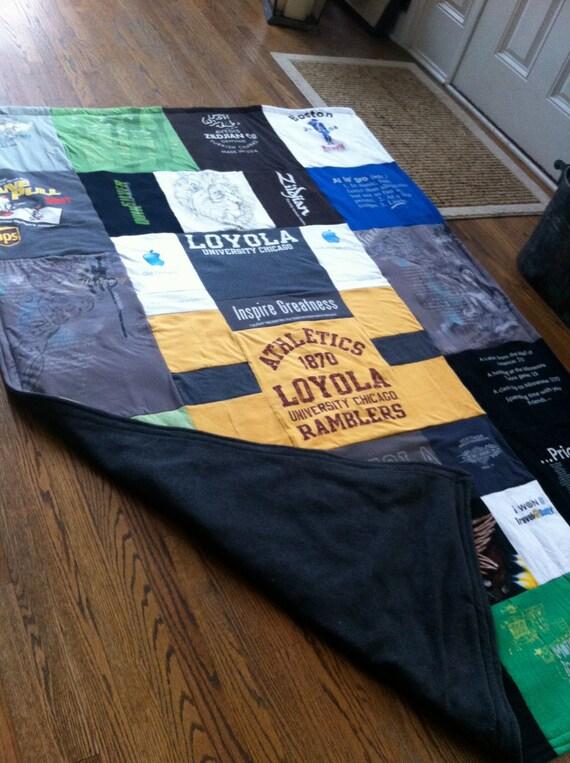Custom made  t-shirt Quilt, T-Shirt Blanket, Loyola Blanket, Memory Quilt, Memory blanket, ragged Blanket