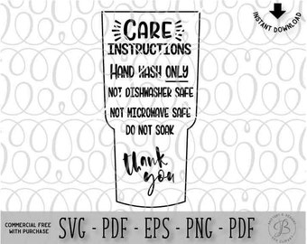 Tumbler Care Instructions, care card svg, Care card Cut file, Digital care card, SVG, svg files, digital file