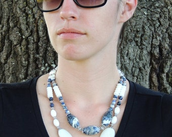 Reserved - Sodalite and White Agate  2-Strand Statement Necklace
