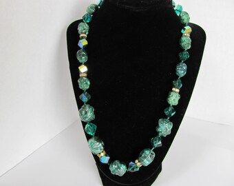 Vintage Green Lucite and Green AB Cube Beads Necklace