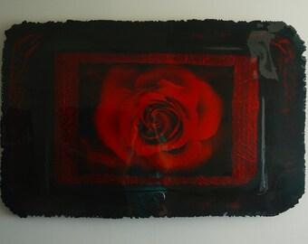 Wall Art Sculpture RED ROSE, Wall Art, One of a kind, Mixed media, Fine art, Modern