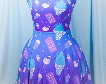 Sugar Pop Novelty Ice Cream Printed Skater Dress Fairy Kei Pastel Goth Kawaii