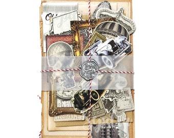 Snailmail Kit, Airmail Envelope, Paper Ephemera Pack, Old Books, Junk Journal Kit, Scrapbooking Kit, Planner Kit, Collage Kit, Vintage Kit