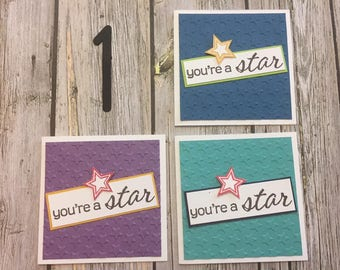You're a Star Lunch Box Cards ~ Lunch Box cards ~ Note Cards ~ 3x3 cards ~ Mini Note Cards ~ Love Notes ~ Gift Cards