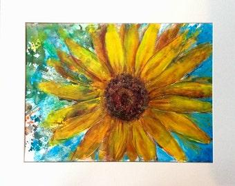 "Sunflower Acrylic Painting 20x16"""