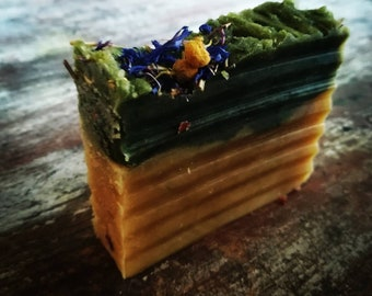 Shower Bar-Rosemary Spirulina-Handmade Vegan Natural Soap