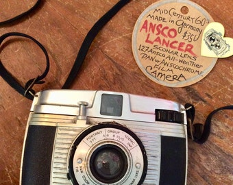 Vintage 60s CAMERA - ANSCO LANCER 127 / Made in Germany / Sconar Lens / All Weather / Pan or Anscochrome Film Camera