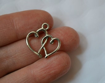 10 Pewter Double Heart Charms/Pendants. Double Heart Charm. Double Heart Pendant. Heart Metal Charm. Pewter Charm. 20mm x 20mm