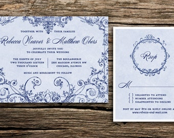 Old World Wedding Invitation // French Blue Wedding Invitations Paris Inspired Invitations Vintage Rococo Marie Antoinette Something Blue