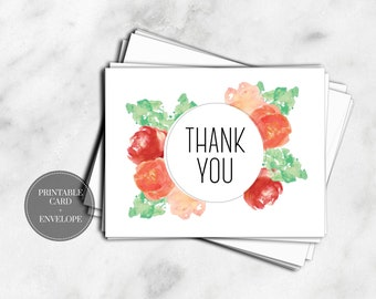 PRINTABLE Thank You Cards DIGITAL DOWNLOAD Pink Watercolor Flowers Floral Wedding Baby Shower Greeting Cards // GC115