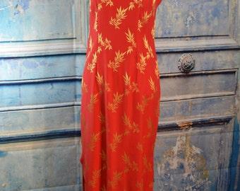 vintage 1960s cheongsam oriental gold orange mandarin long dress - cheongsam dress - orange cheongsam dress - orange long dress