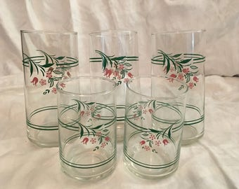 Vintage floral glass cups