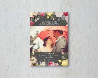 Floral Chalkboard Wedding Thank You Card