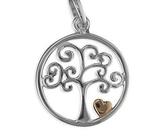 Tree pendant, tree and heart, tree heart necklace, tree heart charm, silver tree necklace, gold heart, silver tree necklace, silver jewelery