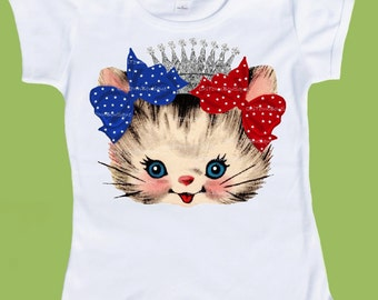 Kitten Bow T-Shirt, Girls Red white and Blue, patriotic 4th of July, Silver Crown Kitten, Girls TShirt Tank ,One Piece ChiTownBoutique.etsy
