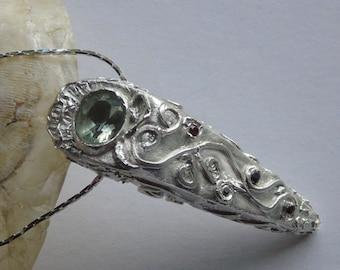 Metal Clay Silberkette. Verzierte Halskette mit grünen Amethyst.